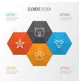 zoology icons set collection of grizzly moose vector image