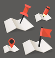 Folded maps with point markers vector image vector image