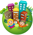 Muslim boy and girl at the buildings vector image