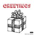 Hand drawn gift box vector image vector image