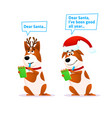 funny cartoon dog set xmas flat character terrier vector image