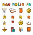 Hanukkah icons set Jewish Holiday Hanukkah symbol vector image