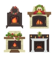 fireplace Merry Christmas and harry New vector image