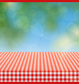 picnic table with red checkered pattern of linen vector image