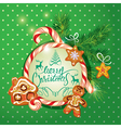 New Year Holiday greeting Card with xmas gingerbre vector image