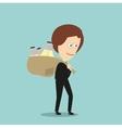 Business woman with sack of idea light bulbs vector image