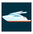 cartoon yacht on dark background vector image
