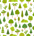 Different trees collection Lineart design seamless vector image