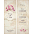 Floral decorative wedding menu template design vector image