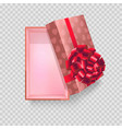 gift box wrapped in paper with hearts and big bow vector image
