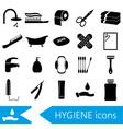 hygiene theme modern simple black icons set eps10 vector image