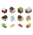 Isometric Retro Flat Cars House Real Estate Icons vector image