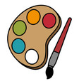 paint pallette with brush vector image