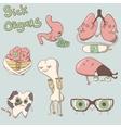sick organs set brain lungs eyes teeth liver vector image