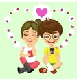 teenager couple sending love messages vector image
