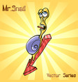mr snail with down vector image