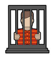 male prisoner behind bars icon image vector image