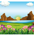 A view of the river and the beautiful flowers vector image vector image