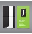 business card letter J vector image