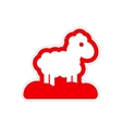 paper sticker on white background Christmas lamb vector image