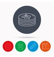 Pancakes icon American breakfast sign vector image