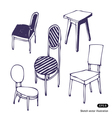 Hand drawn chairs Isolated vector image vector image