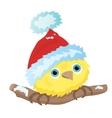 Cartoon little bird in Christmas Santa hat vector image