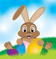 Easter bunny with colorful egg Little gift at vector image