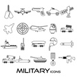 military theme simple black outline icons set vector image