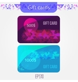 Set of triangle gift cards with Abstract mosaic vector image