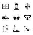 Disabled people icons set simple style vector image