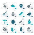 stylized grilling and barbecue icons vector image vector image