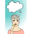 Thinking woman holding pen vertical layout vector image