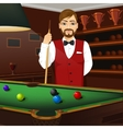 handsome caucasian man holding cue stick vector image vector image