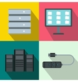 Database banners set flat style vector image