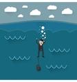 cartoon drowning businessman vector image