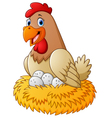 cartoon hen with egg vector image