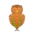 Eagle-Owl Relaxed Cartoon Wild Animal With Closed vector image
