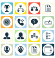 set of 16 hr icons includes bank payment wallet vector image