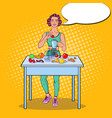 pop art woman making smoothie in blender vector image vector image