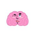 brain winking emotion human brains emoji cheerful vector image