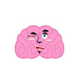 brain winking emotion human brains emoji cheerful vector image