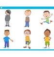 kid boys characters cartoon set vector image