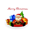 Sitting Santa with present boxes and Christmas vector image vector image