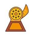 cartoon reel movie trophy awards gold wooden vector image