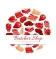 Butchery shop fresh meat poster vector image