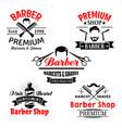 barber shop premium salon icons set vector image