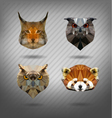 set of animals in the style of origami vector image vector image