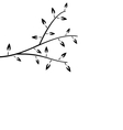 Black Silhouette Branch Tree with Leafs vector image