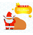 cute deer santa claus with gift bag and snow vector image